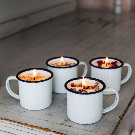 Enamel mug scented candles