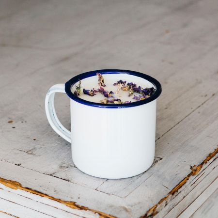 Elderflower and Mallow Enamel Mug Candle