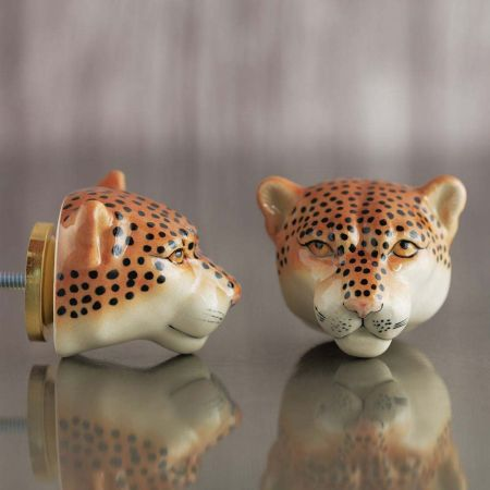 Leopard Head Ceramic Knob