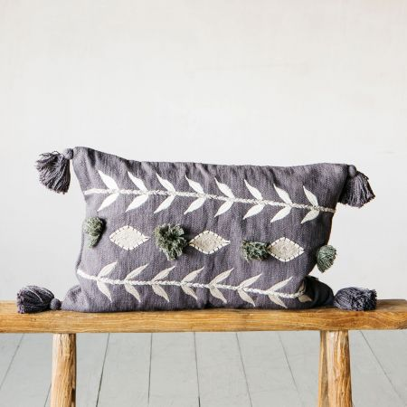 Charcoal Embroidery Tassel Cushion