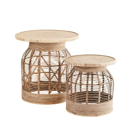 Set of Two Rattan Side Tables