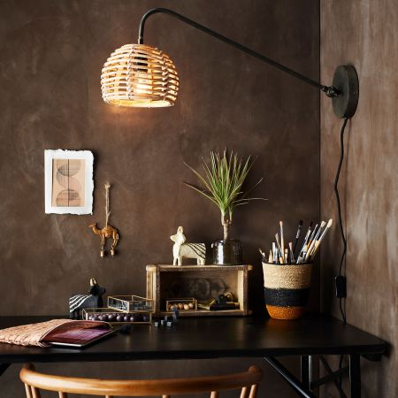 Bamboo and Iron Wall Light