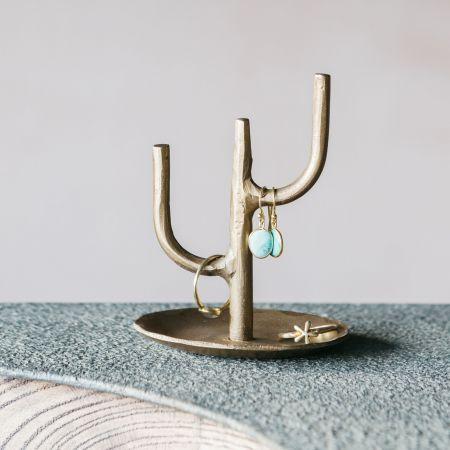 Brass Cactus Jewellery Stand