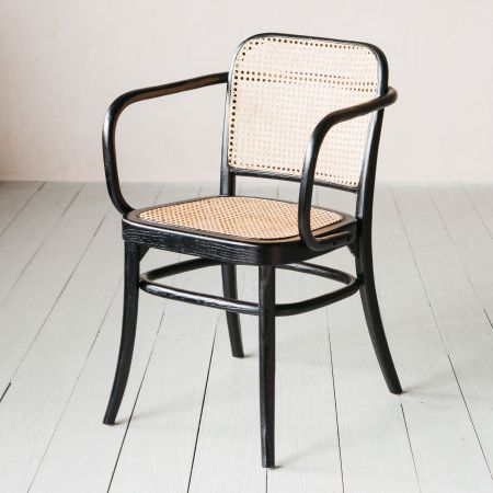Black Elm and Cane Armchair