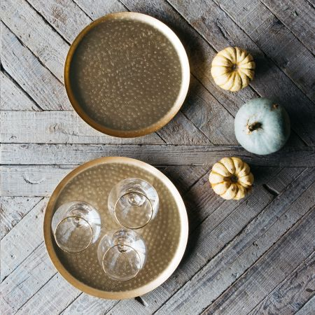 Set of Two Round Hammered Trays