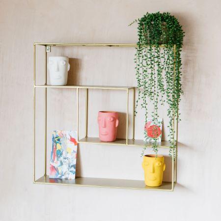 Geometric Antique Brass Shelf