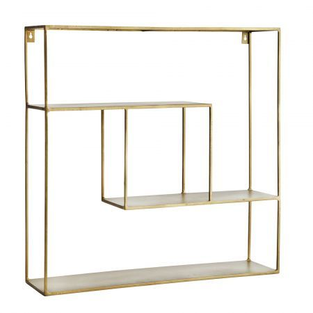 Geometric Antique Brass Shelf