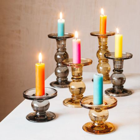 Coloured Glass Candlesticks