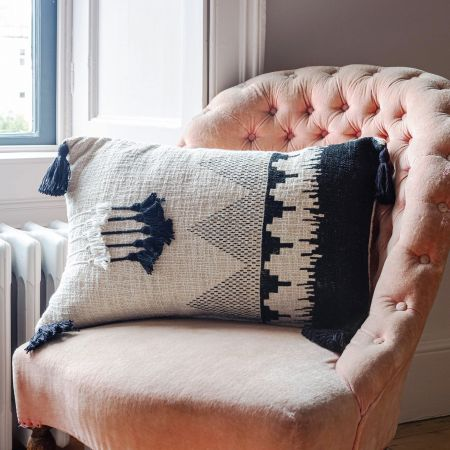 Black and White Rectangle Tassel Cushion