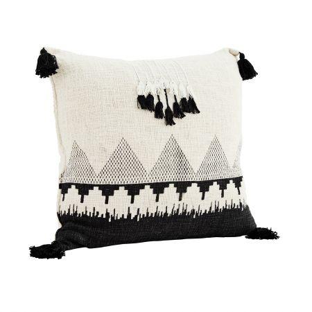 Black and White Square Tassel Cushion