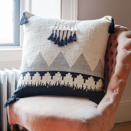 Black and White Square Tassel Cushion