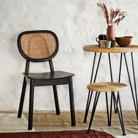 Black Elm and Rattan Chair