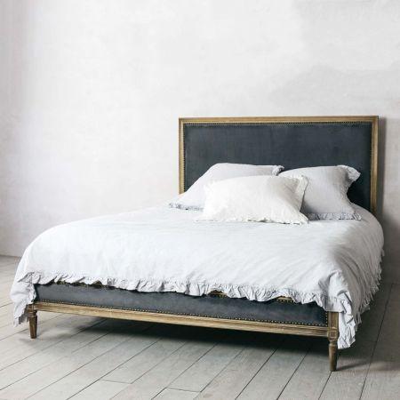 lilian king bed grey velvet