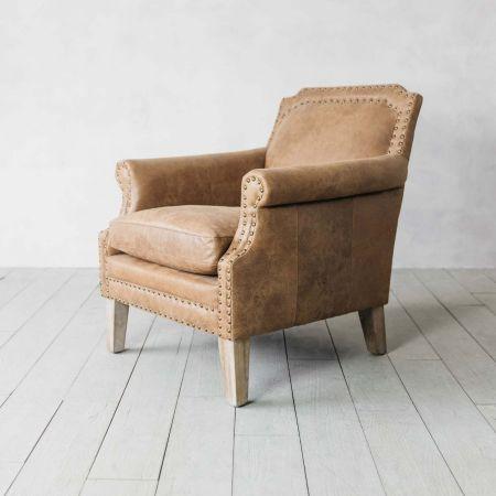 Studded Club Tan Leather Armchair