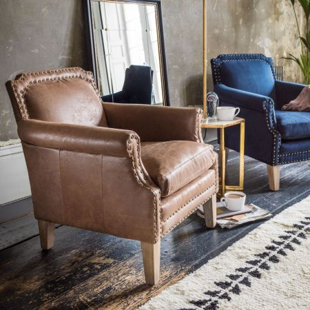 Studded Club Tan Leather Armchair