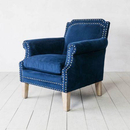 Studded Club Navy Velvet Armchair