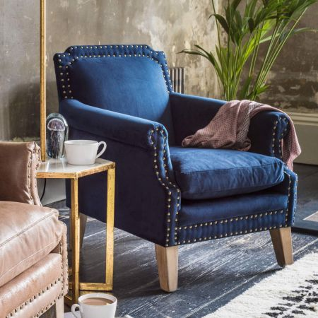 Studded Club Navy Velvet Armchair