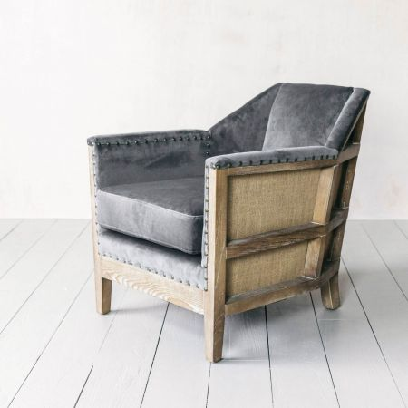Hoxton Grey Velvet Armchair