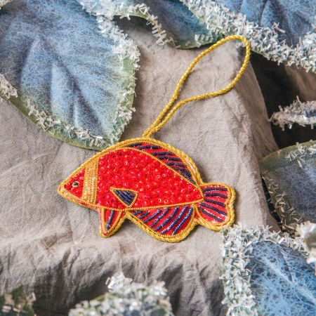 Red Beaded Fish Decoration