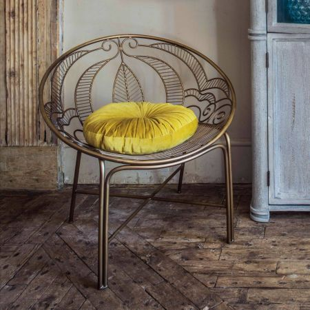 Antiqued Brass Collette Chair