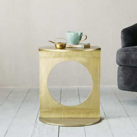 Gia Gold Round Side Table