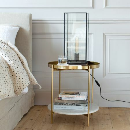 Loretta Round Gold and Marble Side Table