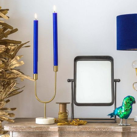 Marble and Gold U Frame Candle Holder