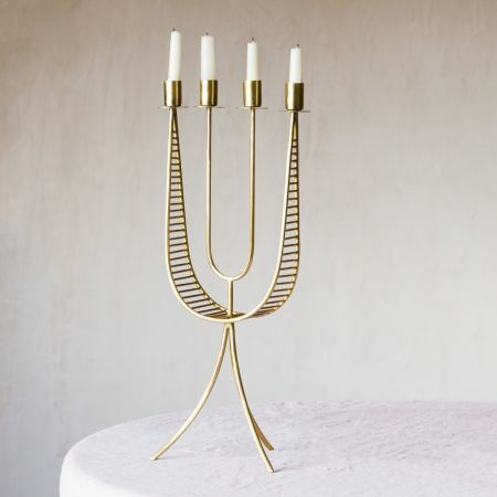 Tall Antique Brass Candelabra
