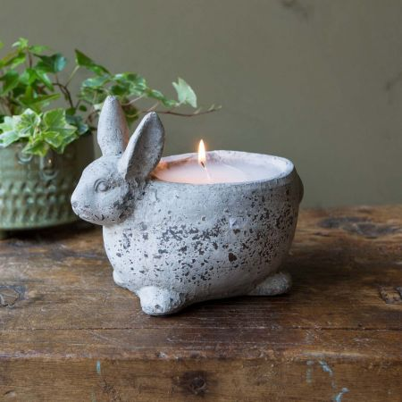 Stone Rabbit Candle Pot