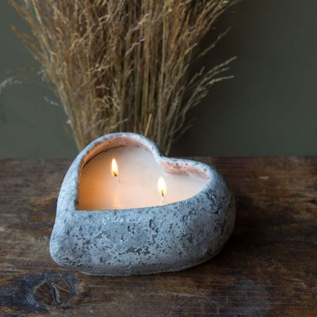 Stone Heart Candle Pot