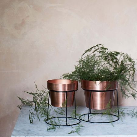Copper Planters on Stands - Thumbnail