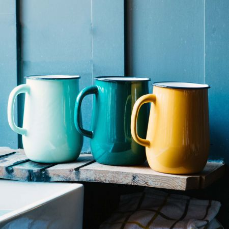 Large Enamel Jugs