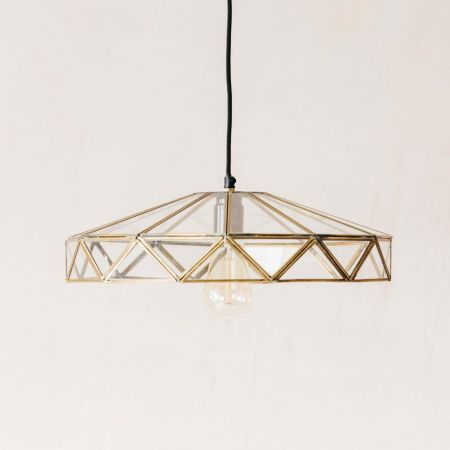 Geometric Glass and Brass Light