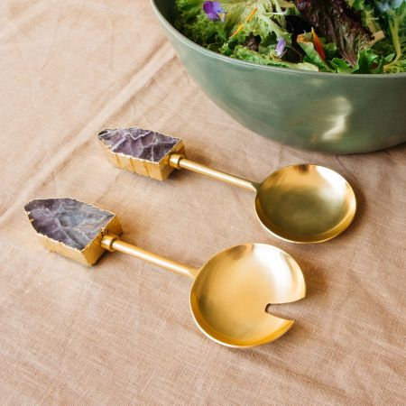 Amethyst and Brass Salad Servers
