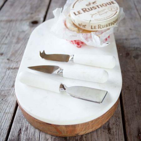 Acacia Wood and Marble Cheese Knife Set and Board - Thumbnail