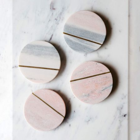 Pink Marble Coaster with Brass Inlay