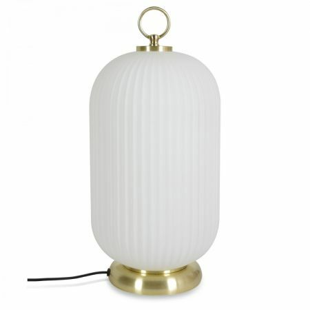 White Glass Lantern Table Lamp