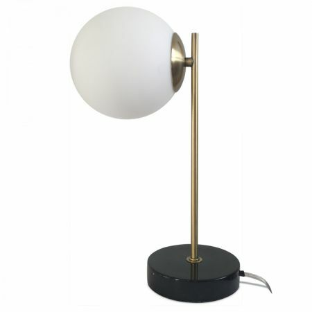 Globe and Black Marble Table Lamp