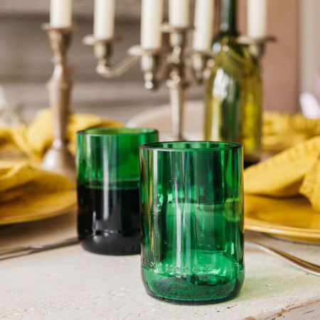 Set of Two Medium Recycled Bottle Glasses