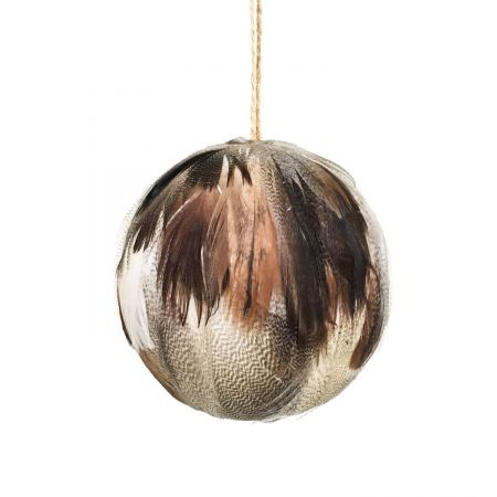Large Smooth Cream Feather Ball Decoration - Thumbnail