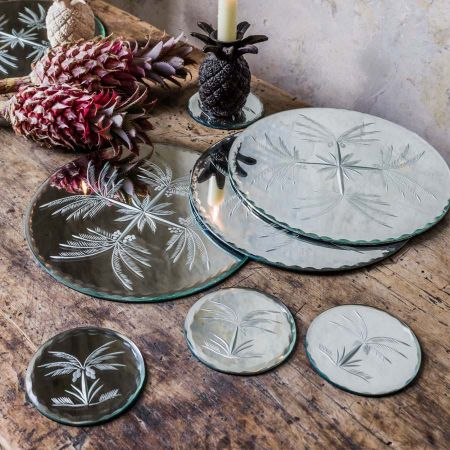 Etched Mirrored Glass Palm Tree Coasters And Place Mats