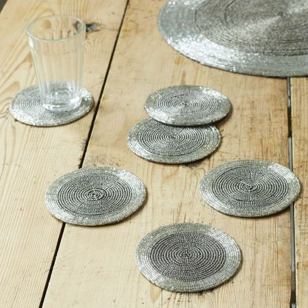 Silver Beaded Placemat and Coasters - Thumbnail