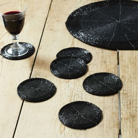 Black Beaded Placemat and Coasters - Thumbnail