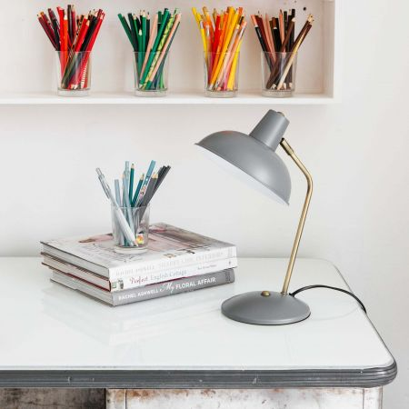 Grey Hood Table Lamp