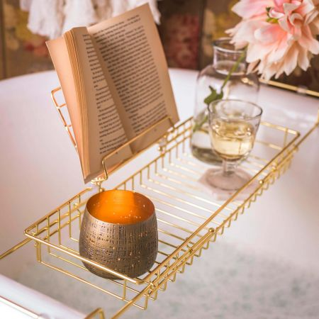 Gold Bath Caddy with Stand