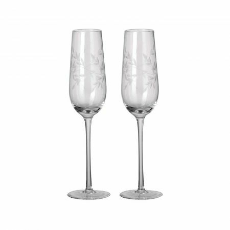Set of Two Etched Laurel Champagne Flutes