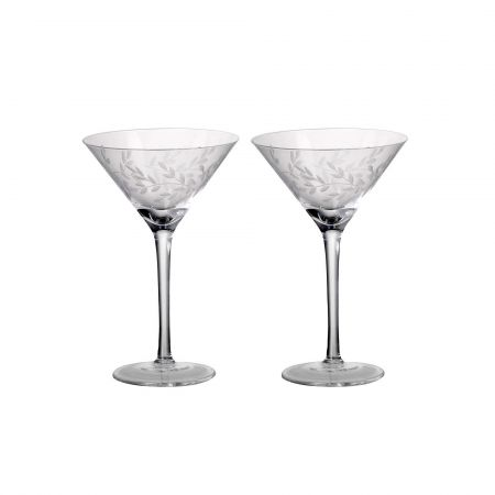 Set of Two Etched Laurel Martini Glasses