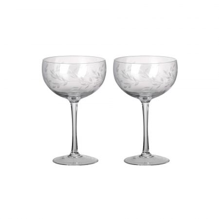 Set of Two Etched Laurel Champagne Coupes