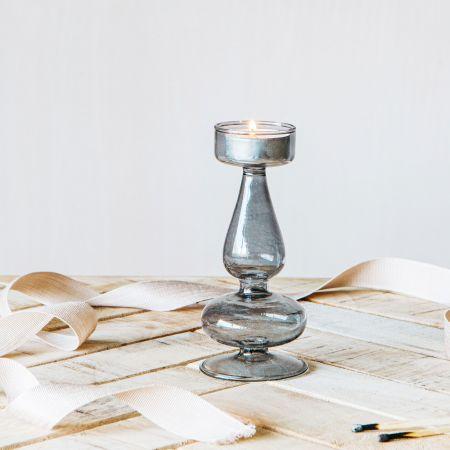 Alia Smoke Grey Glass Tealight Holder