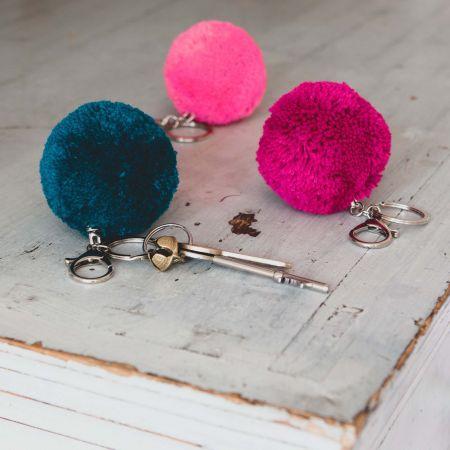 Neon Pink Pom Pom Key Ring